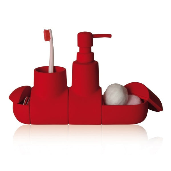 Submarino Bathroom Accessory Set - Red - Coveted Gifts - 2