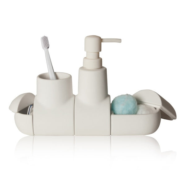 Submarino Bathroom Accessory Set - White - Coveted Gifts - 2