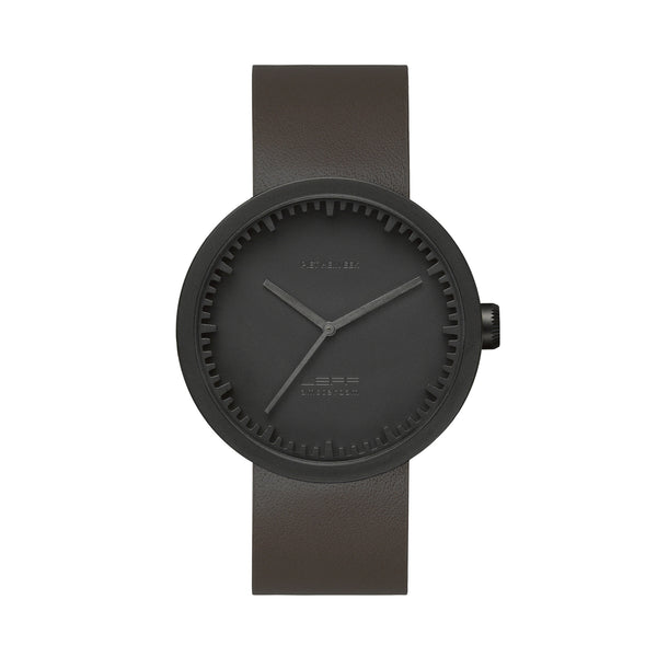 Tube Watch - Matte Black | Brown Leather Strap - Coveted Gifts - 1
