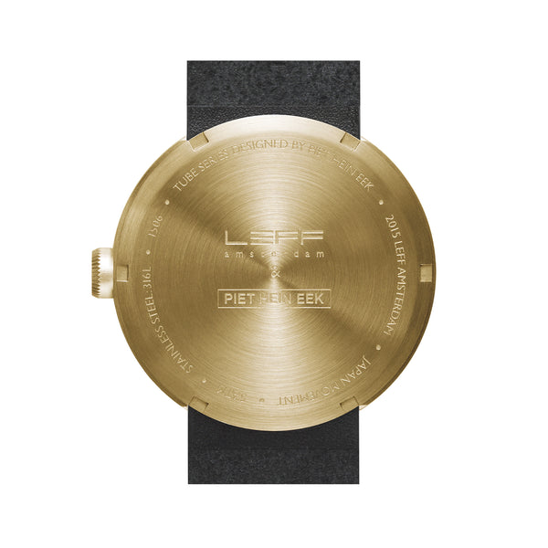 Tube Watch - Brass | Black Leather Strap - Coveted Gifts - 2