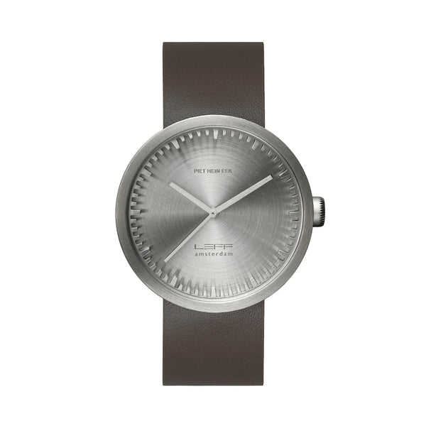 Tube Watch - Steel | Brown Leather Strap - Coveted Gifts - 1