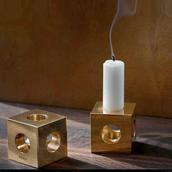 Cube Candle Holder by Erik Olovsson, Solid Brass - Coveted Gifts - 3
