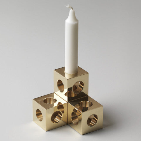 Cube Candle Holder by Erik Olovsson, Solid Brass - Coveted Gifts - 2