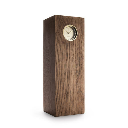 Tube Series Wood Clock - Brass | Brown Oak - Coveted Gifts - 1