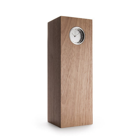 Tube Series Wood Clock - Steel | Natural Hevea - Coveted Gifts - 1