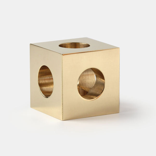 Cube Candle Holder by Erik Olovsson, Solid Brass - Coveted Gifts - 5
