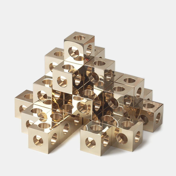 Cube Candle Holder by Erik Olovsson, Solid Brass - Coveted Gifts - 4
