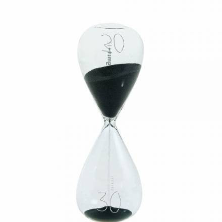 Si-Time 30 Minute Hourglass, Black Sand - Coveted Gifts