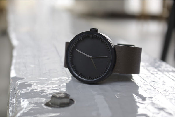 Tube Watch - Matte Black | Brown Leather Strap - Coveted Gifts - 4