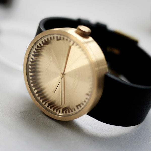 Tube Watch - Brass | Black Leather Strap - Coveted Gifts - 5