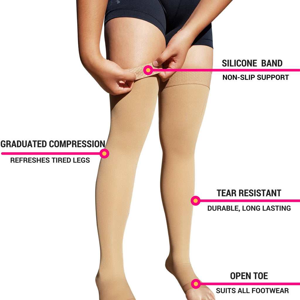 cafc87728ab2a8 ... Compression Wear - Thigh High Open Toe Compression Stockings ...
