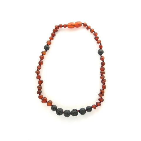 Lemon Vines Amber Aromatherapy Children's Necklace- Unpolished Dark Cherry