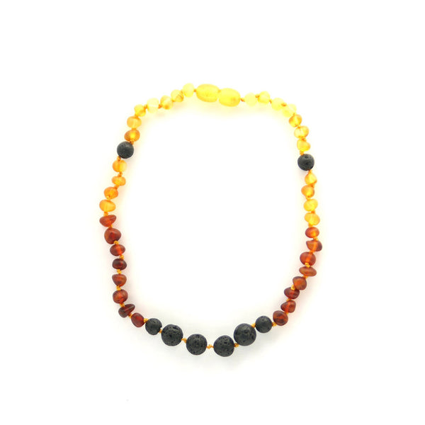 Lemon Vines Amber Aromatherapy Children's Necklace- Unpolished Rainbow