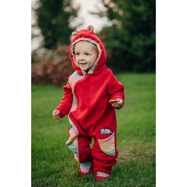 Lenny Lamb Bear Romper with Baby Booties- Red with Little Herringbone Imagination