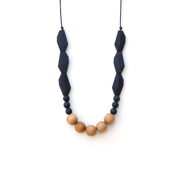 Loulou LOLLIPOP Joan Wood + Silicone Teething Necklace- Midnight Black