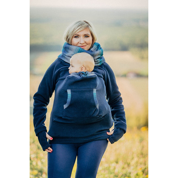 Lenny Lamb Fleece Babywearing Sweatshirt- Navy with Little Herringbone Illusion