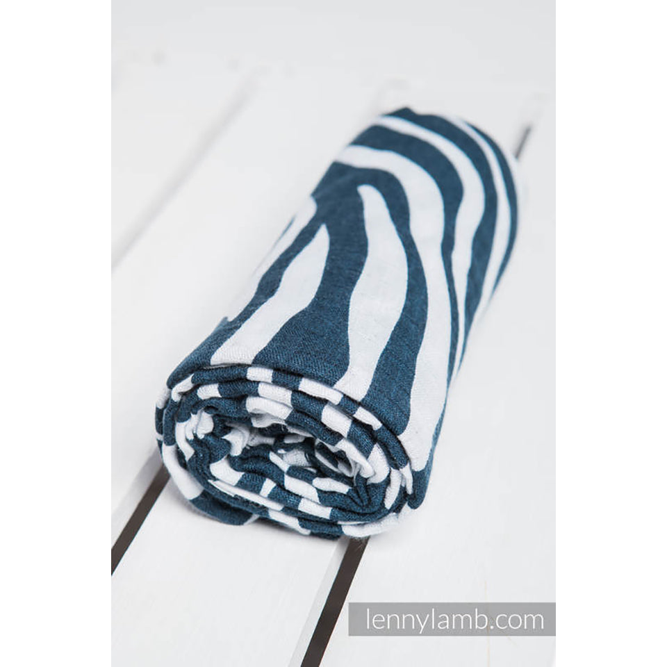 Lenny Lamb Swaddle Wrap- Zebra Navy Blue and White