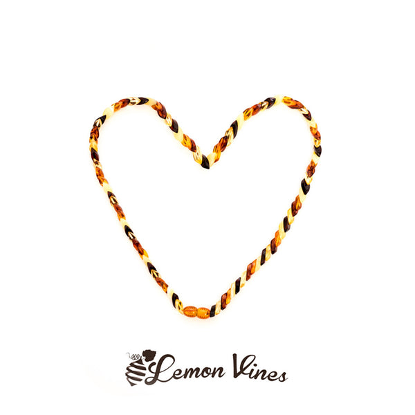 Lemon Vines Amber Adult Necklace- Cylindrical Designer