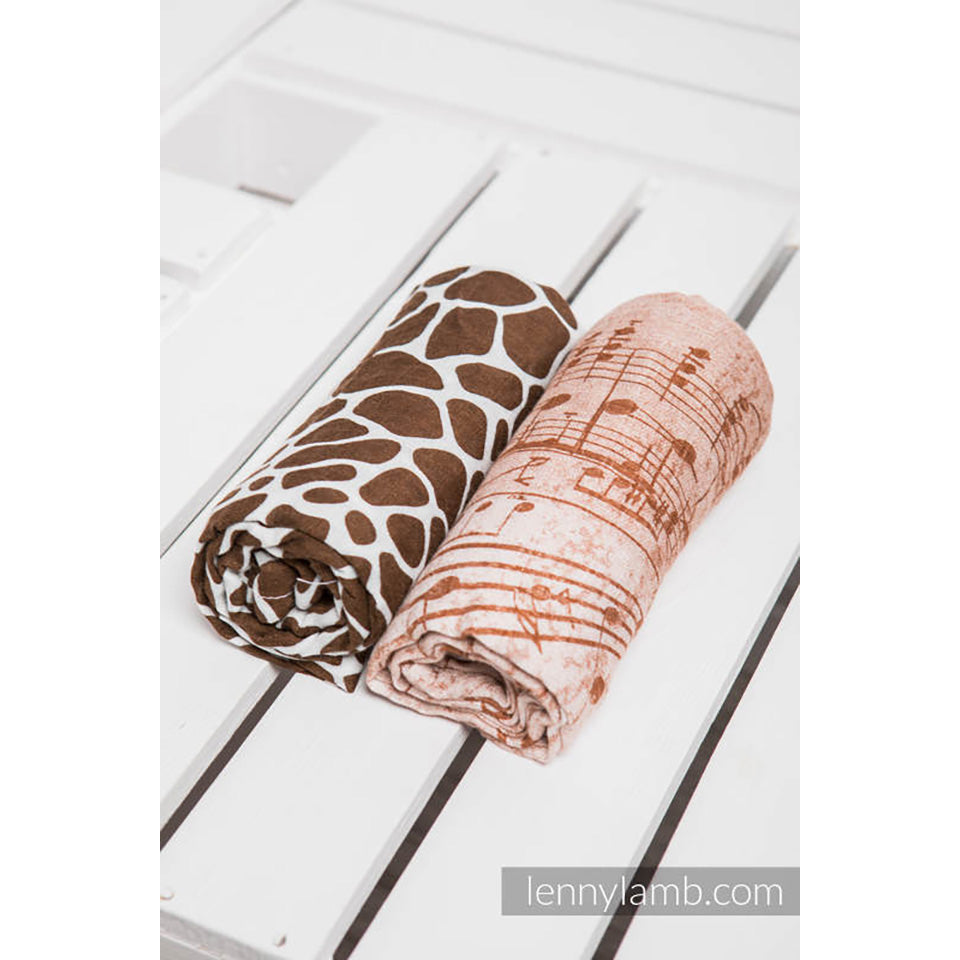 Lenny Lamb Swaddle Wraps- Symphony Brown & Cream and Giraffe Brown & Cream- Set of 2