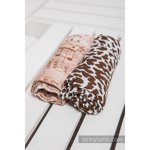 Lenny Lamb Swaddle Wraps- Symphony Brown & Cream and Cheetah Brown & White- Set of 2