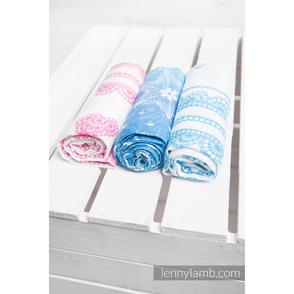 Lenny Lamb Muslin Square Set- Snow Queen, Iced Lace Pink & White, Iced Lace Turquoise and White