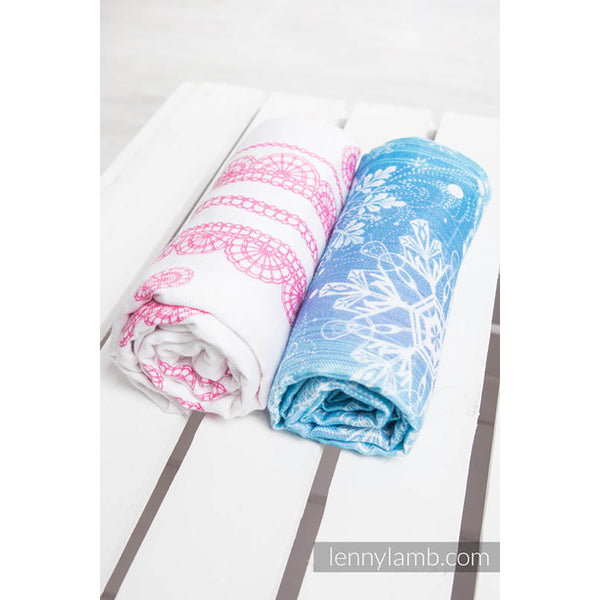 Lenny Lamb Swaddle Wraps- Snow Queen and Iced Lace Pink and White- Set of 2