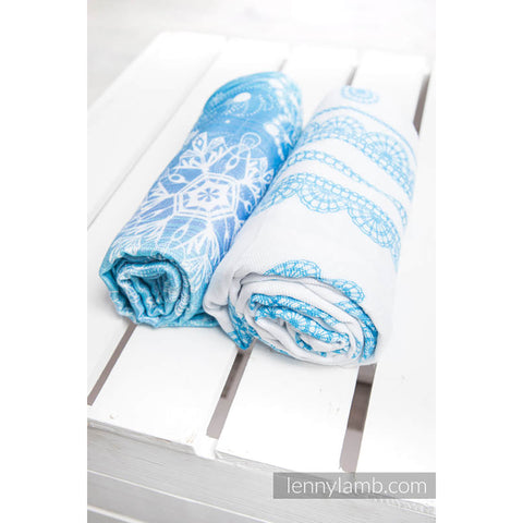 Lenny Lamb Swaddle Wraps- Snow Queen and Iced Lace Turquoise and White- Set of 2