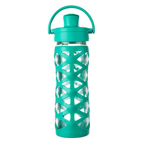Lifefactory 16 oz Glass Water Bottle with Active Flip Cap and Silicone Sleeve