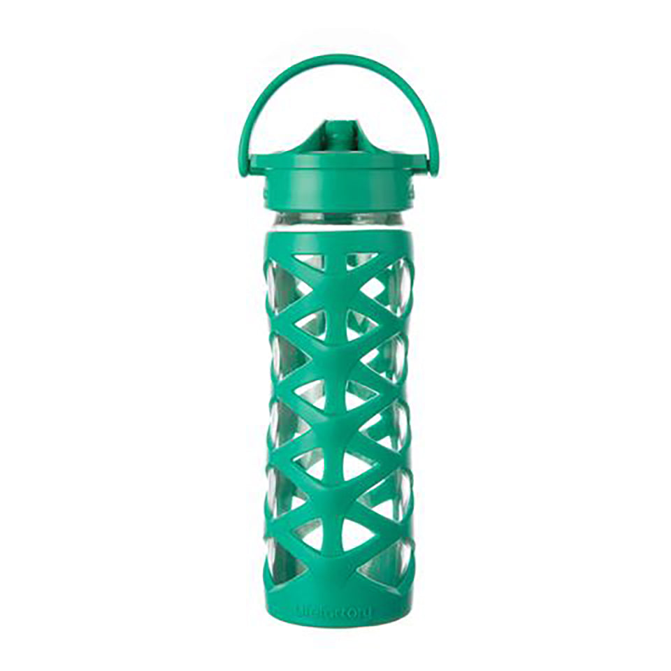 Lifefactory 16 oz Glass Water Bottle with Axis Straw Cap and Silicone Sleeve