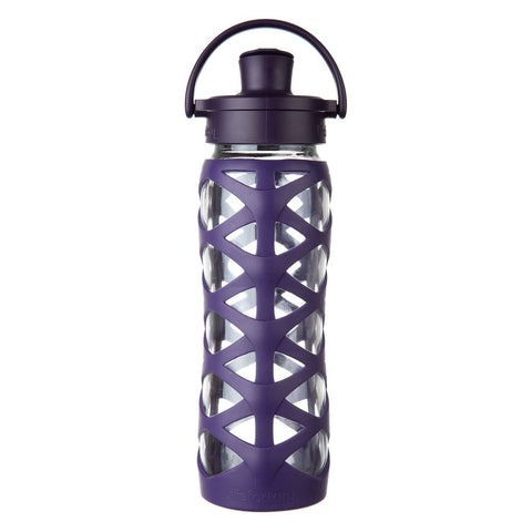 Lifefactory 22 oz Glass Water Bottle with Active Flip Cap and Silicone Sleeve