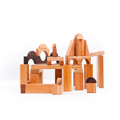 A Summer Afternoon Natural Hardwood Building Blocks- 45 piece set