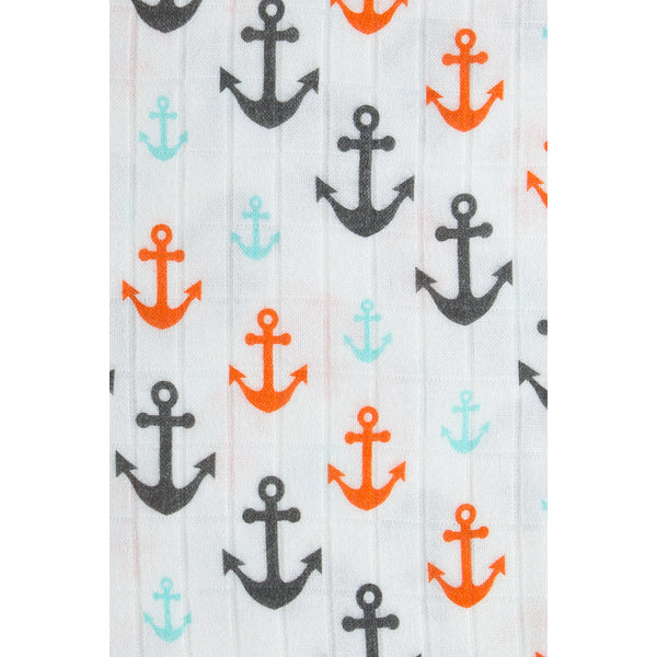 Tula Blanket Set- Captain (Captain print, gray anchors and white anchors)