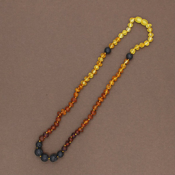 Lemon Vines Amber Aromatherapy Adult Necklace- Unpolished Rainbow