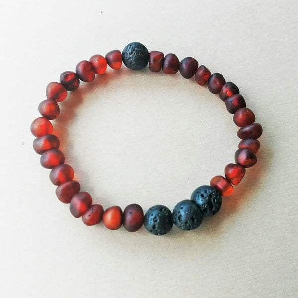 Lemon Vines Amber Aromatherapy Bracelet- Unpolished Cherry