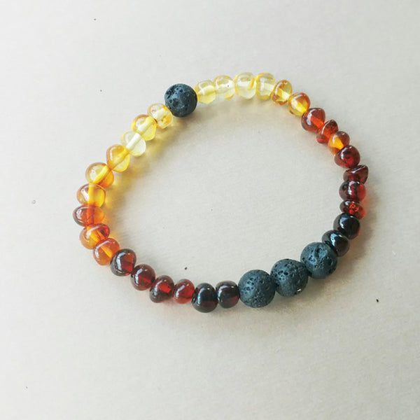 Lemon Vines Amber Aromatherapy Bracelet- Polished Rainbow