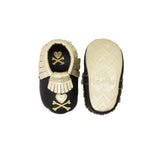 Itzy Ritzy Moc Happens Leather Baby Moccasins- Hearts and Crossbones