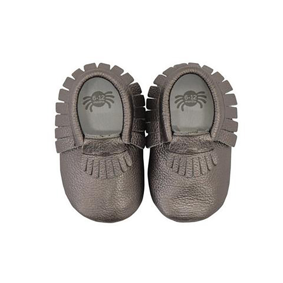 Itzy Ritzy Moc Happens Leather Baby Moccasins- Pewter