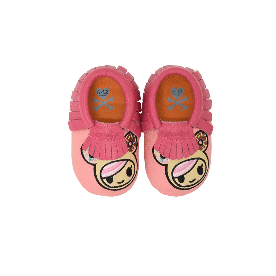 Itzy Ritzy Moc Happens Leather Baby Moccasins- Donutella