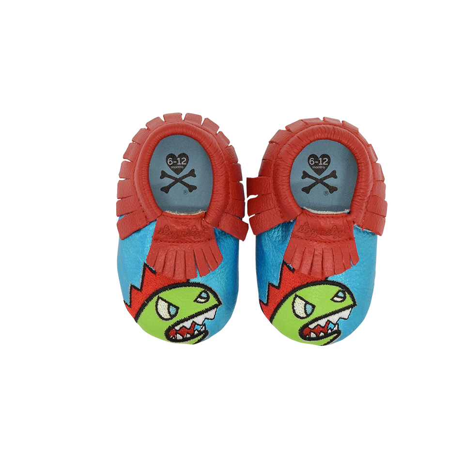 Itzy Ritzy Moc Happens Leather Baby Moccasins- Kaiju
