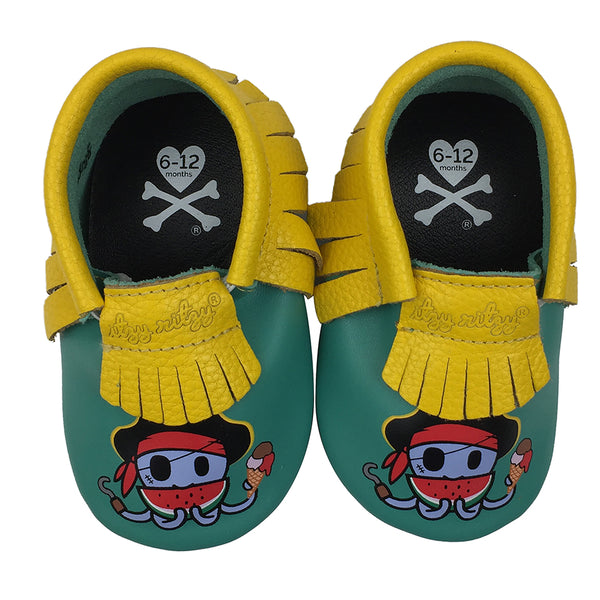 Itzy Ritzy Moc Happens Leather Baby Moccasins- Piratako