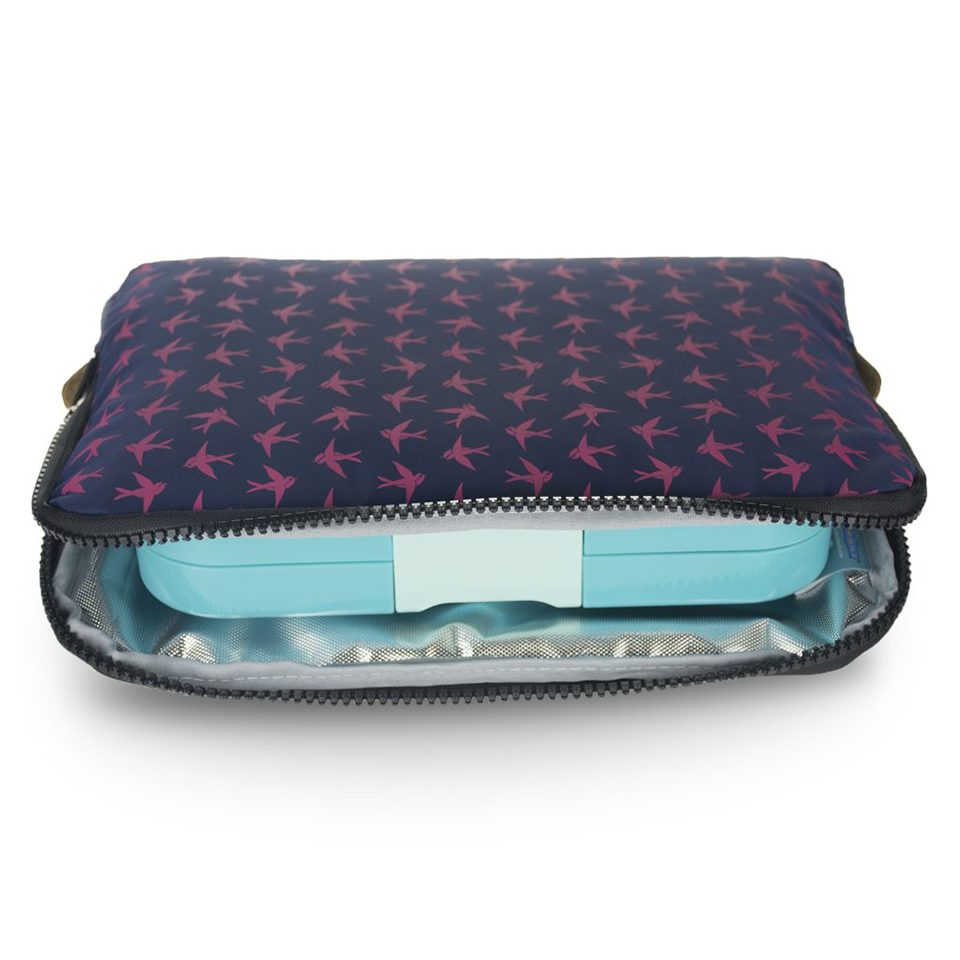 Yumbox Poche- Navy with Bird Print