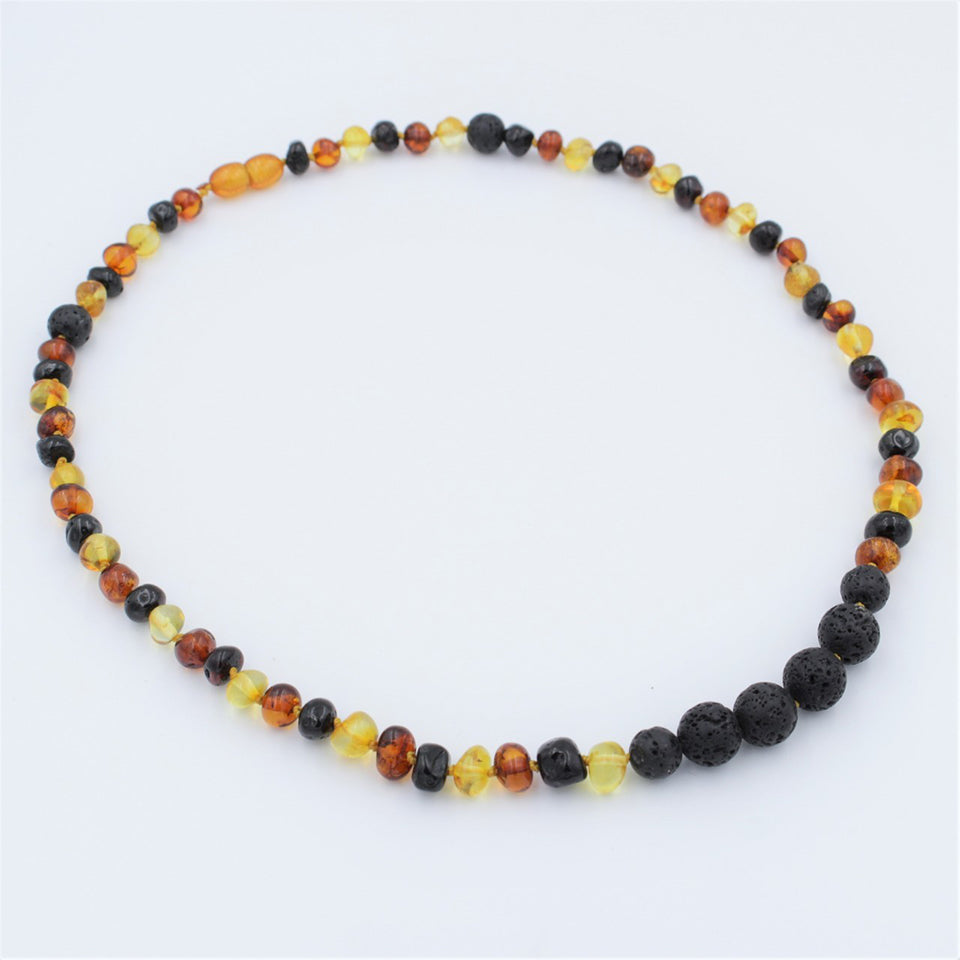 Lemon Vines Amber Aromatherapy Adult Necklace- Multicolored