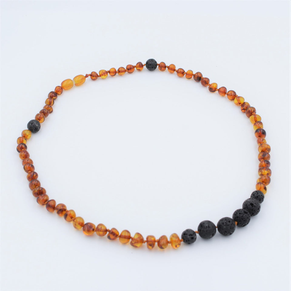 Lemon Vines Amber Aromatherapy Adult Necklace- Polished Cognac
