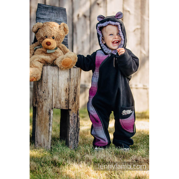 Lenny Lamb Bear Romper- Black with Little Herringbone Inspiration