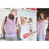 Buckle Carrier - Lenny Lamb Wrap Conversion Ergonomic Carrier- Paisley Purple And Cream