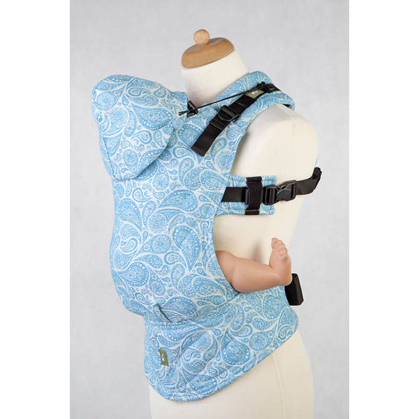 Buckle Carrier - Lenny Lamb Wrap Conversion Ergonomic Carrier- Paisley Turquoise And Cream