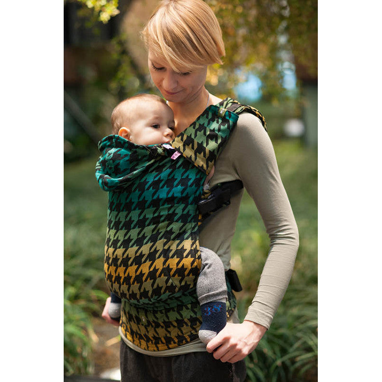 Buckle Carrier - Lenny Lamb Wrap Conversion Ergonomic Carrier- Pepitka Green And Yellow