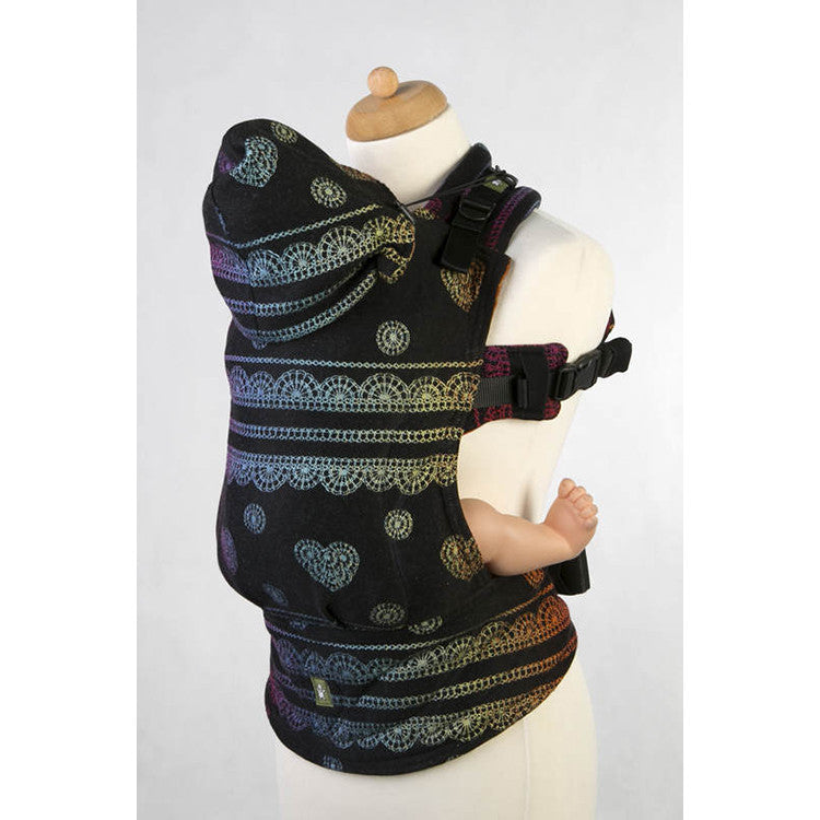Buckle Carrier - Lenny Lamb Wrap Conversion Ergonomic Carrier- Rainbow Lace Dark Reverse