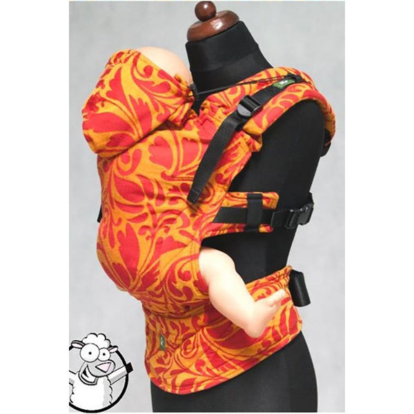 Buckle Carrier - Lenny Lamb Wrap Conversion Ergonomic Carrier- Twisted Leaves Red And Orange