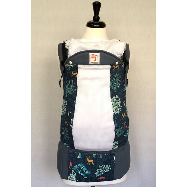 Buckle Carrier - MJ Baby Carriers- Forest Blue On White Fresh Mesh